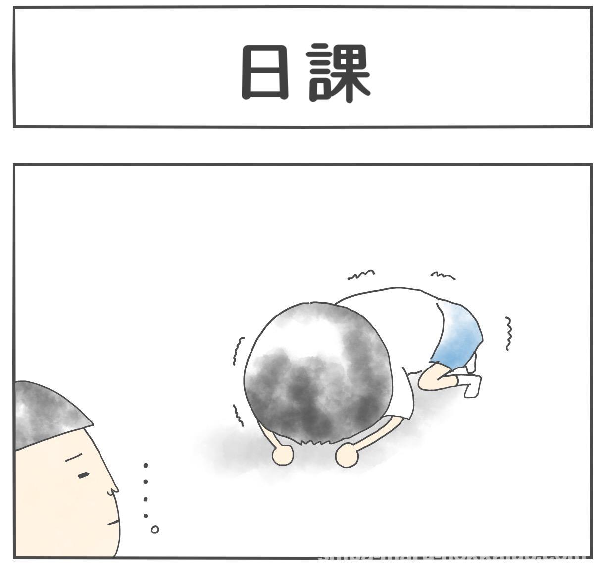 【柴犬4コマ】アラサー主婦と柴犬まるさんの日課